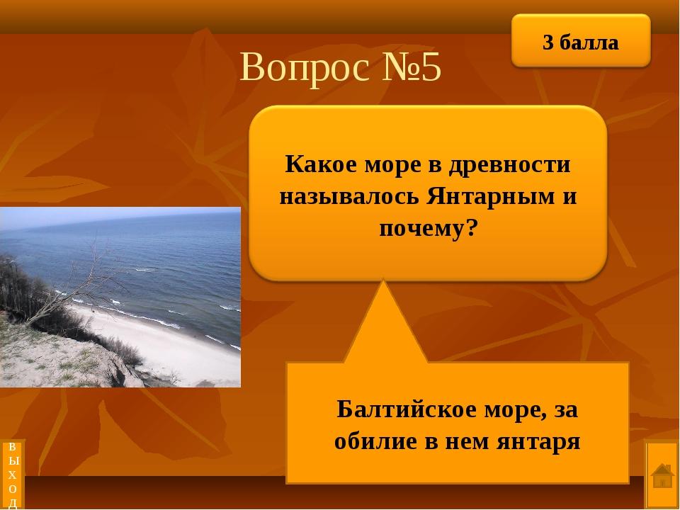 Вопрос №5 Балтийское море, за обилие в нем янтаря выход