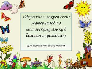 «Изучение и закрепление материалов по татарскому языку в домашних условиях» Д