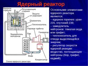 Ядерный реактор Основными элементами ядерного реактора являются: – ядерное го