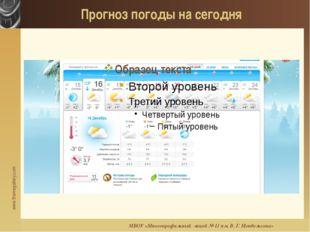 Прогноз погоды на сегодня МБОУ «Многопрофильный лицей № 11 им. В. Г. Мендельс