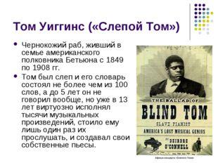 Том Уиггинс («Слепой Том») Чернокожий раб, живший в семье американского полко