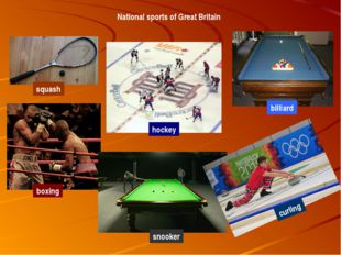 National sports of Great Britain squash hockey boxing snooker billiard curling