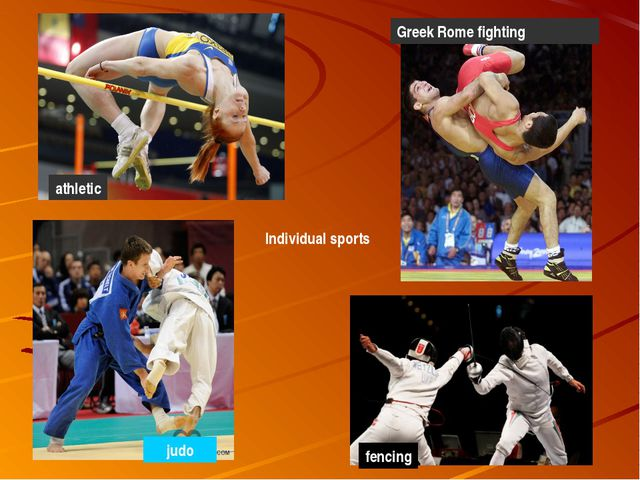 Individual sports athletic Greek Rome fighting judo fencing