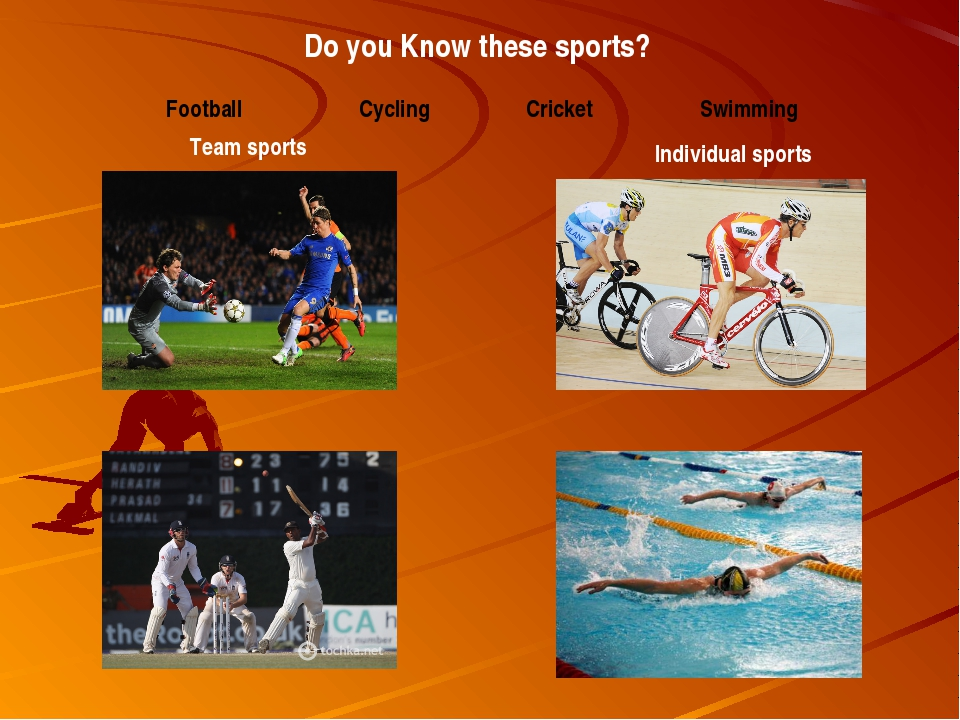 Do you Know these sports? Team sports Individual sports Football Cycling Cric...