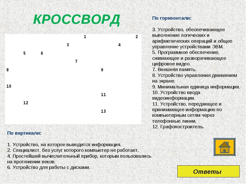 КРОССВОРД По горизонтали: 3. Устройство, обеспечивающее выполнение логических...