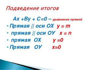 Ах +Ву + С=0 – уравнение прямой Прямая || оси ОХ у = m прямая || оси ОУ х =