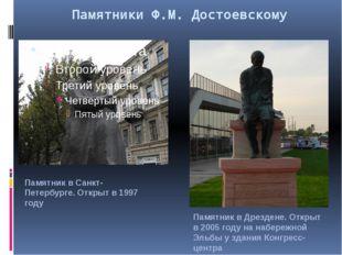 Памятники Ф.М. Достоевскому Памятник в Санкт-Петербурге. Открыт в 1997 году П