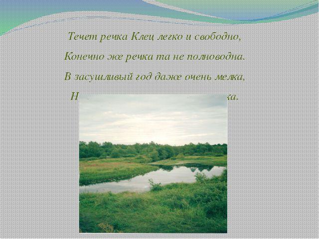 Течет речка Клец легко и свободно, Конечно же речка та не полноводна. В засуш...