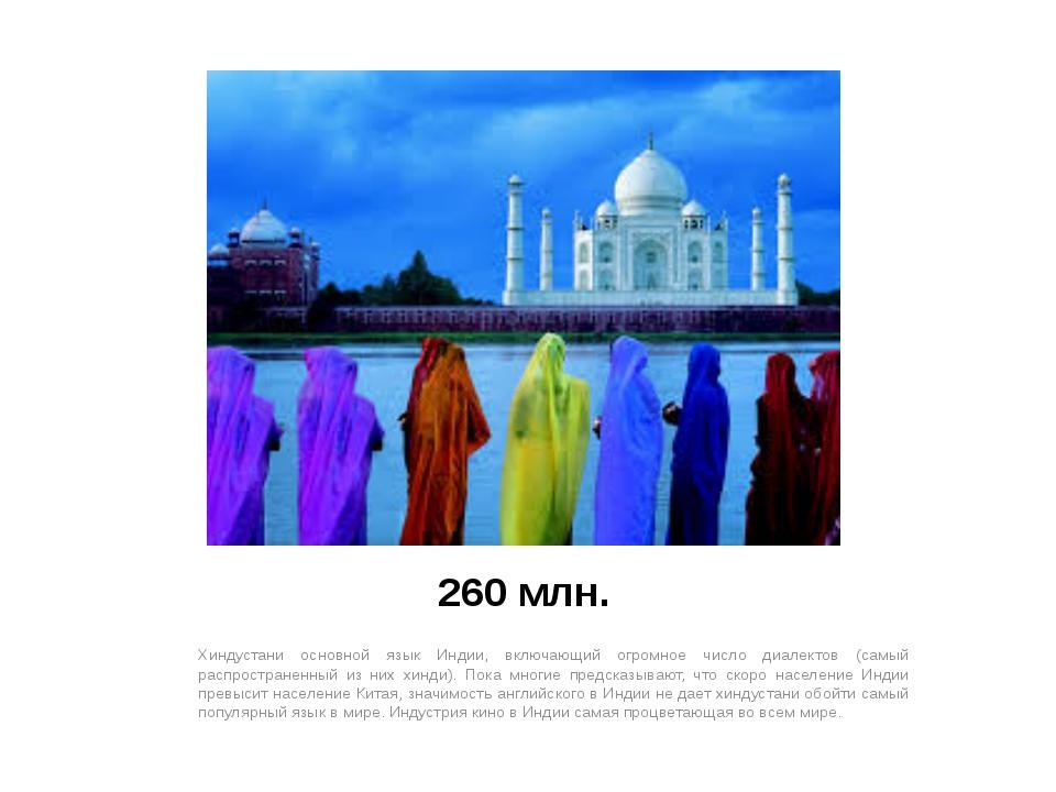 260 млн. Хиндустани основной язык Индии, включающий огромное число диалектов...