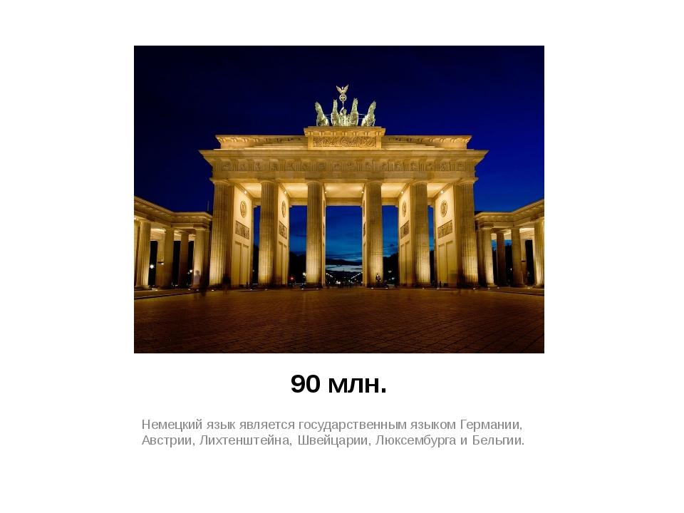 90 млн. Немецкий язык является государственным языком Германии, Австрии, Лихт...