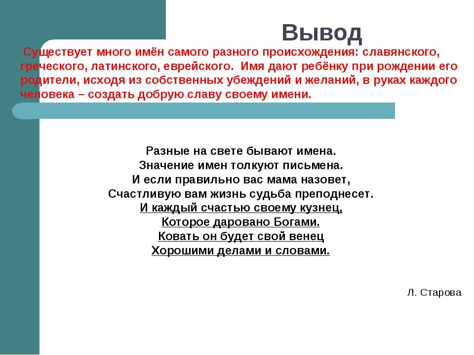 Вывод Существует много имён самого разного происхождения: славянского, гречес...