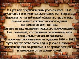 О третьем предположении рассказывает Н.И. Шувалов в топонимическом словаре «О
