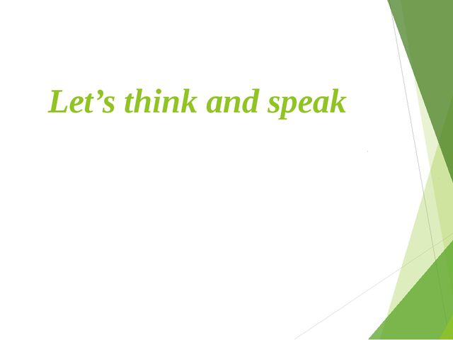 Let's think and speak