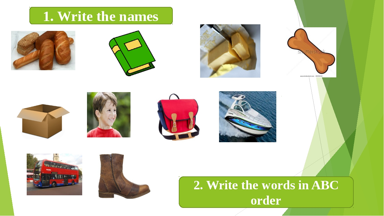 1. Write the names 2. Write the words in ABC order