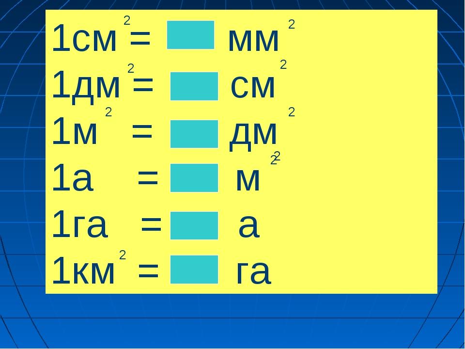 1см = мм 1дм = см 1м = дм 1а = м 1га = а 1км = га 2 2 2 2 2 2 2 2 2