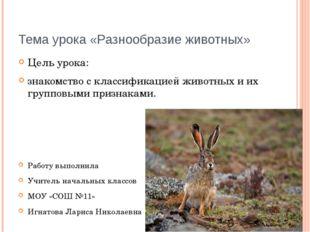 Тема урока «Разнообразие животных» Цель урока: знакомство с классификацией жи
