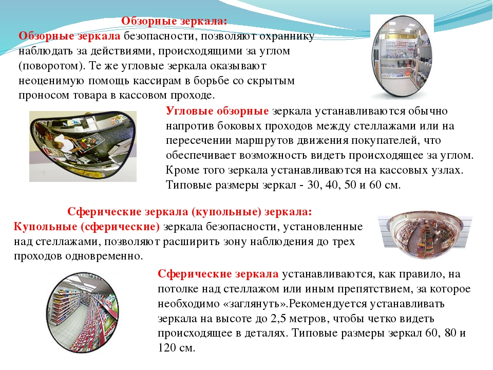 Угловые обзорные зеркала устанавливаются обычно напротив боковых проходов меж...