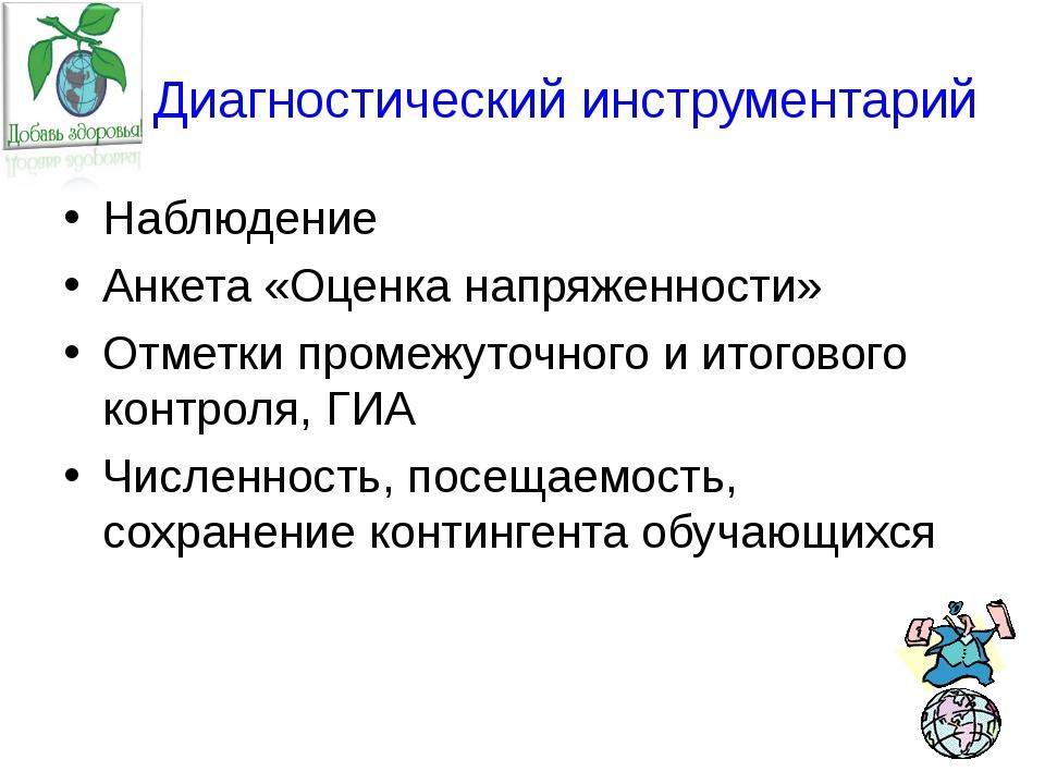 Диагностический инструментарий Наблюдение Анкета «Оценка напряженности» Отме...