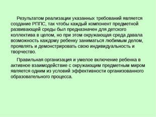 Результатом реализации указанных требований является создание РППС, так чтоб