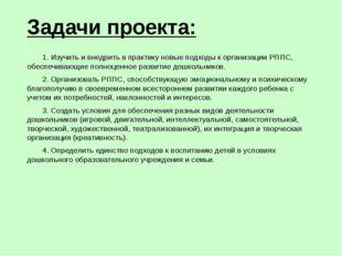 Задачи проекта: 1. Изучить и внедрить в практику новые подходы к организации