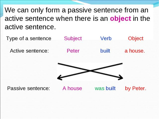 We can only form a passive sentence from an active sentence when there is an...