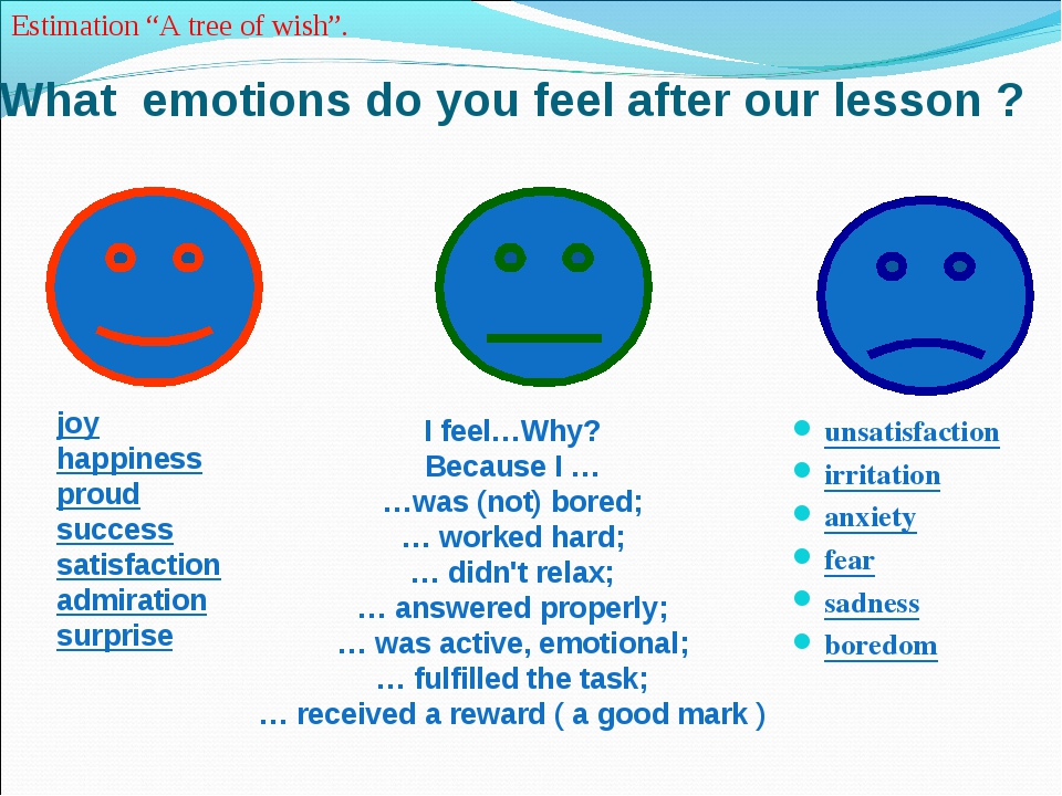 What emotions do you feel after our lesson ? unsatisfaction irritation anxiet...