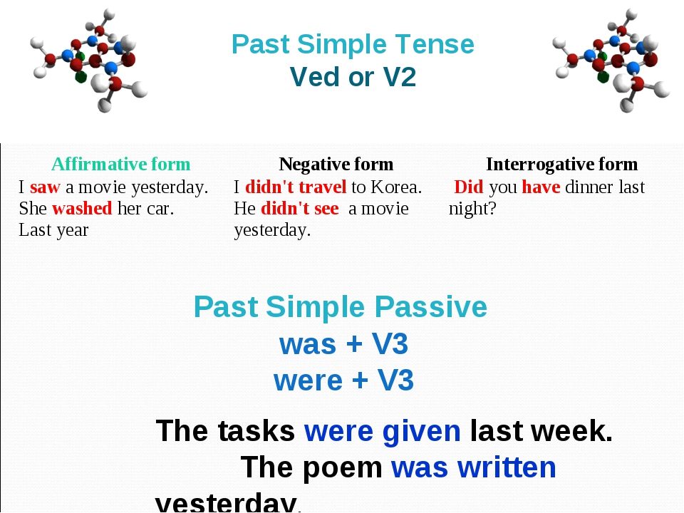 Past Simple Tense Ved or V2 The tasks were given last week. The poem was writ...