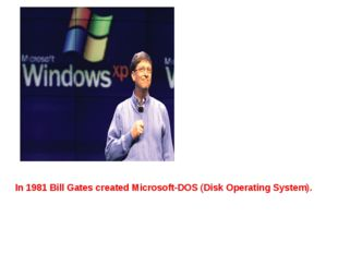 In 1981 Bill Gates created Microsoft-DOS (Disk Operating System).