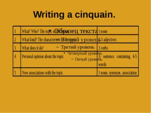 Writing a cinquain.