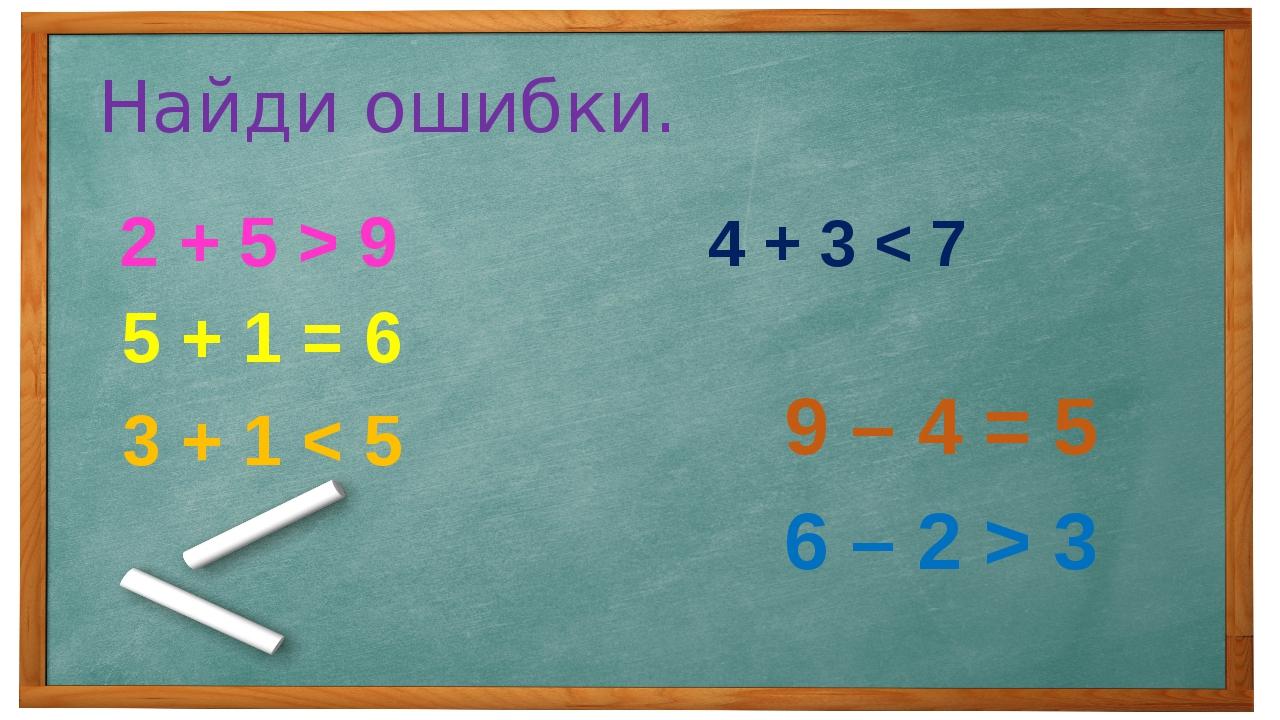 Найди ошибки. 2 + 5 > 9 5 + 1 = 6 3 + 1 < 5 4 + 3 < 7 9 – 4 = 5 6 – 2 > 3
