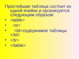 Простейшая таблица состоит из одной ячейки и организуется следующим образом: