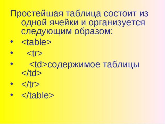 Простейшая таблица состоит из одной ячейки и организуется следующим образом:...