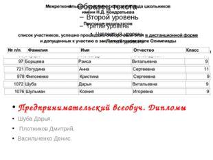 Предпринимательский всеобуч. Дипломы Шуба Дарья, Плотников Дмитрий, Васильче