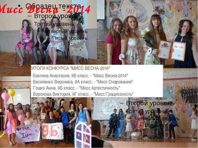 "Мисс Весна -2014 ИТОГИ КОНКУРСА ""МИСС ВЕСНА-2014"" Бахтина Анастасия, 9В клас..."