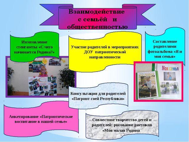 Взаимодействие с семьёй и общественностью Изготовление стенгазеты «С чего нач...