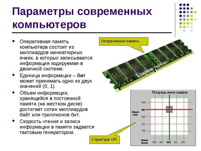Параметры современных компьютеров Оперативная память компьютера состоит из ми...