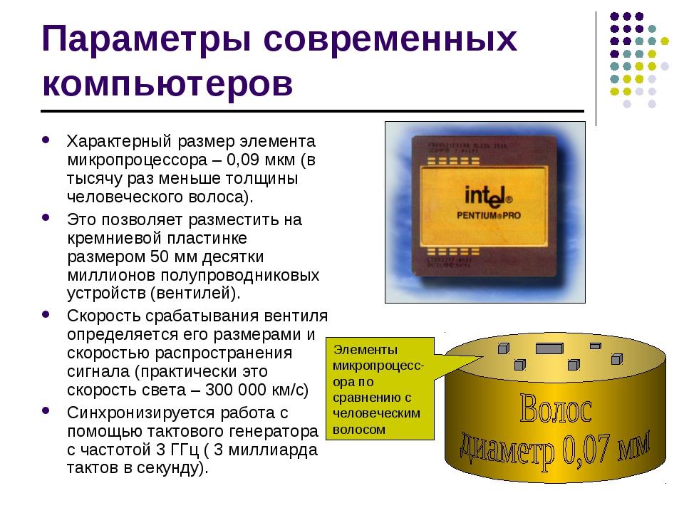 Параметры современных компьютеров Характерный размер элемента микропроцессора...