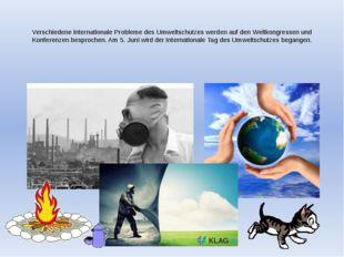 Verschiedene internationale Probleme des Umweltschutzes werden auf den Weltk