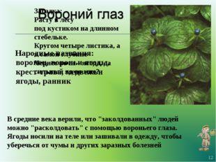 Народные названия: воронец, вороньи ягоды, крест-трава, медвежьи ягоды, ранн