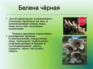 Детей привлекают кувшинчики с семенами, приятные на вкус и напоминающие семе
