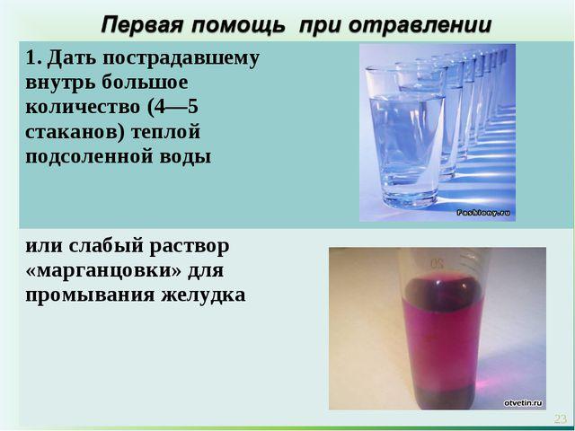 * 1. Дать пострадавшему внутрь большое количество (4—5 стаканов) теплой подсо...