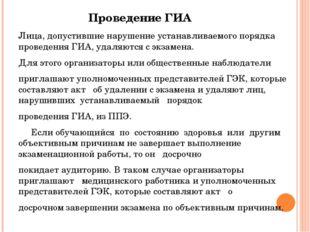 Проведение ГИА Лица, допустившие нарушение устанавливаемого порядка проведени