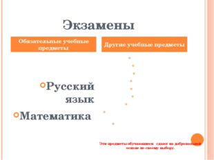 Экзамены Русский язык Математика Литература, физика, химия, биология, географ