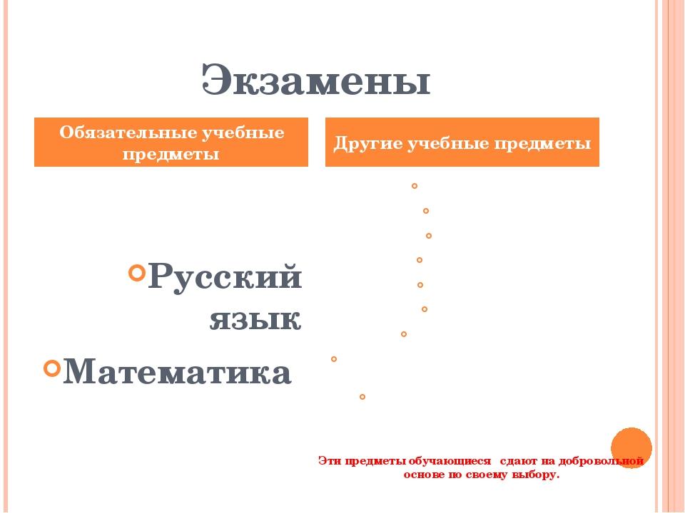 Экзамены Русский язык Математика Литература, физика, химия, биология, географ...