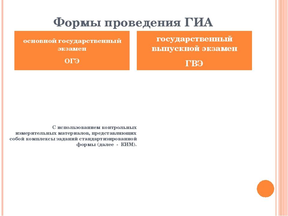 Формы проведения ГИА С использованием контрольных измерительных материалов, п...