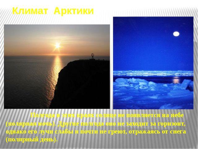Климат Арктики Полгода в этих краях солнце не появляется на небе (полярная но...