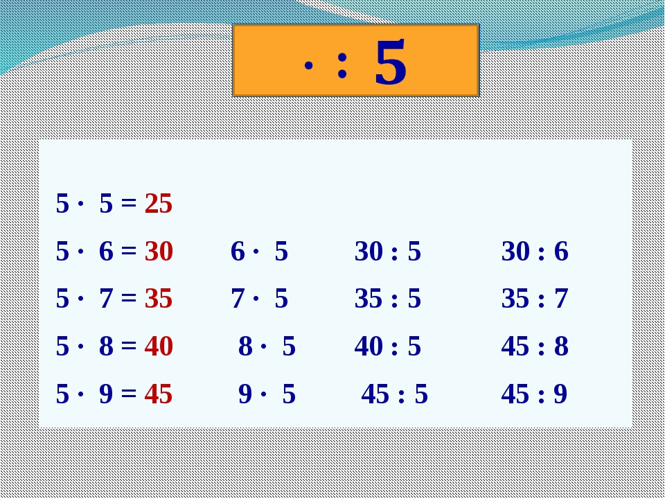 5 · 5 = 25 5 · 6 = 30 6 · 5 30 : 5 30 : 6 5 · 7 = 35 7 · 5 35 : 5 35 : 7 5 ·...