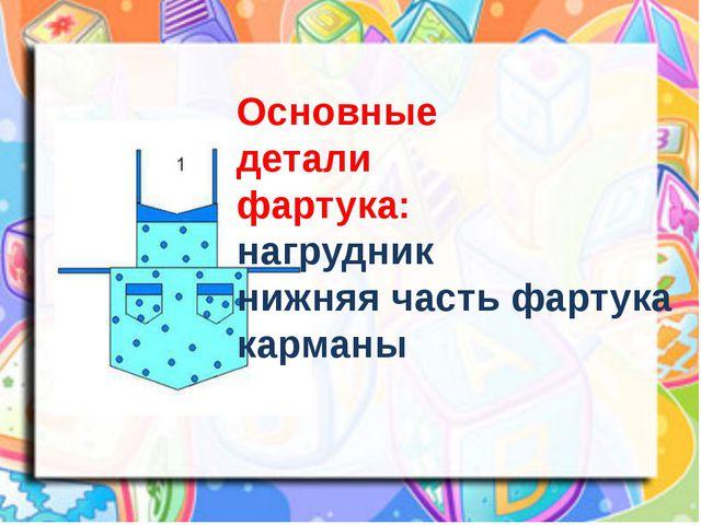 Основные детали фартука: нагрудник нижняя часть фартука карманы