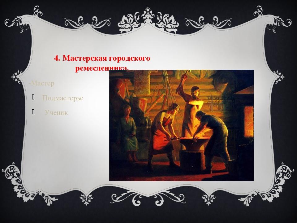 4. Мастерская городского ремесленника. -Мастер Подмастерье Ученик