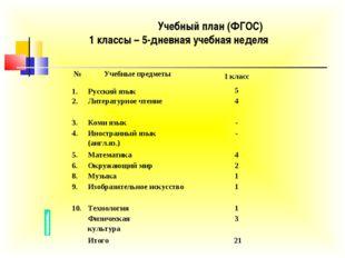 Учебный план (ФГОС) 1 классы – 5-дневная учебная неделя №Учебные предметыО